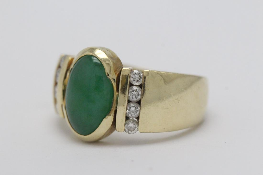 14K Y/G art deco design jadeite diamond ring - 5