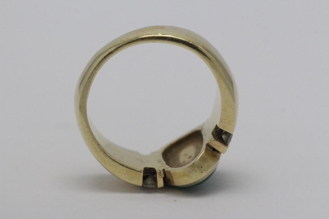 14K Y/G art deco design jadeite diamond ring - 8