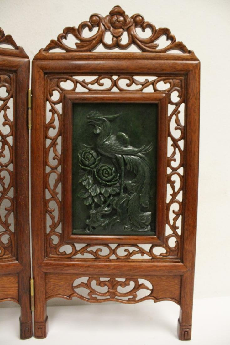 Chinese rosewood table screen w/ jade plaques - 6