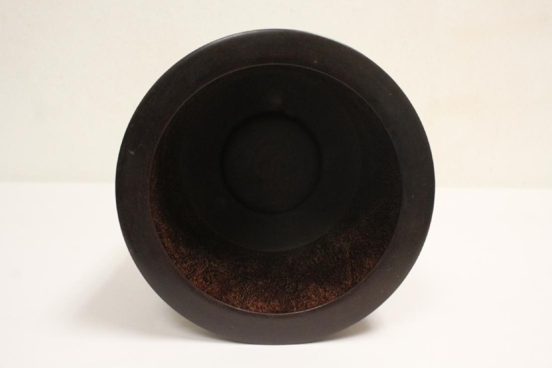 important Chinese vintage zitan wood brush holder - 5