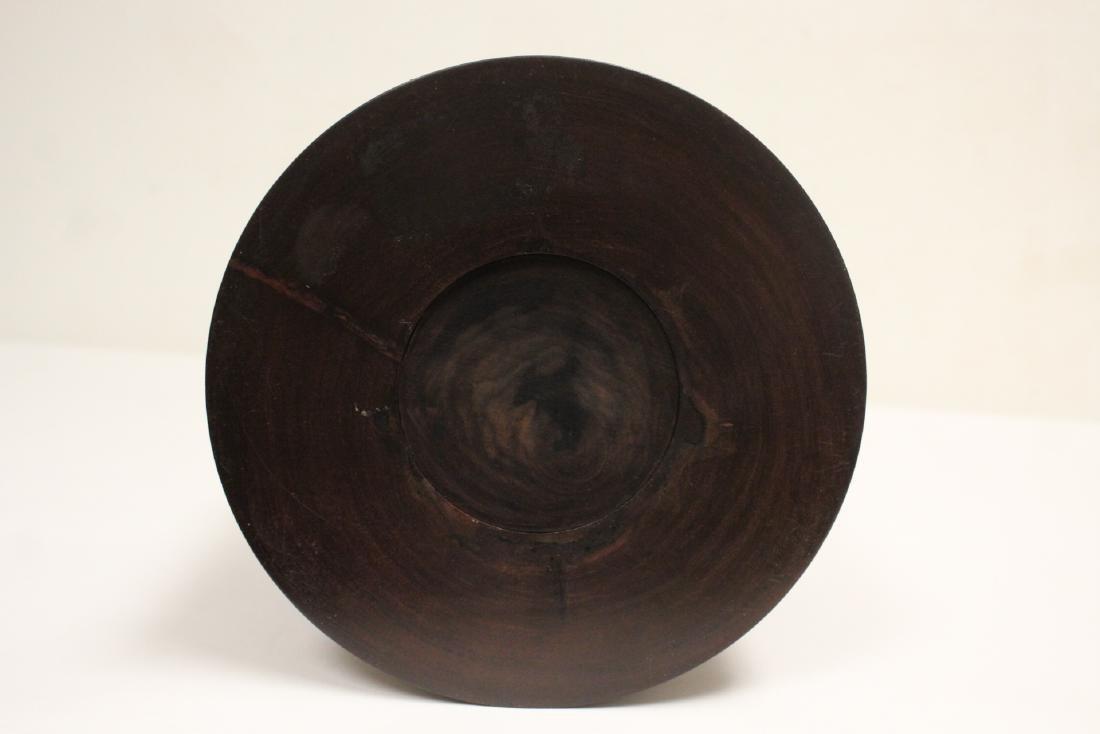 important Chinese vintage zitan wood brush holder - 8