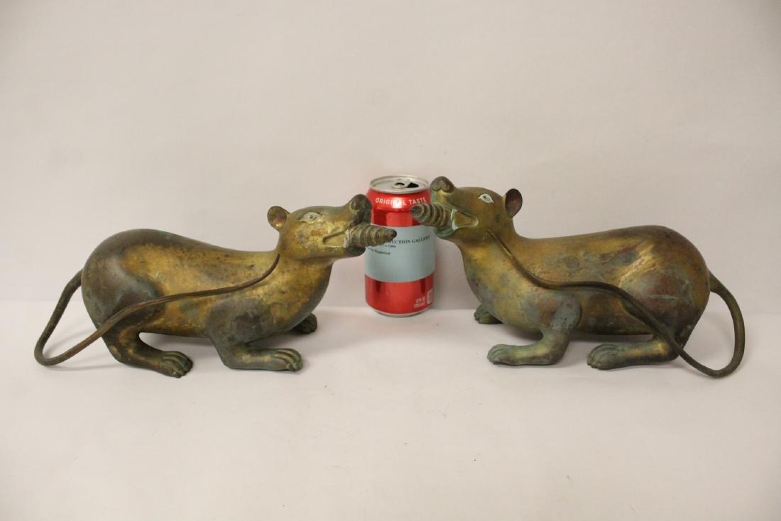 Pair rare Tibetan gilt bronze treasure mice