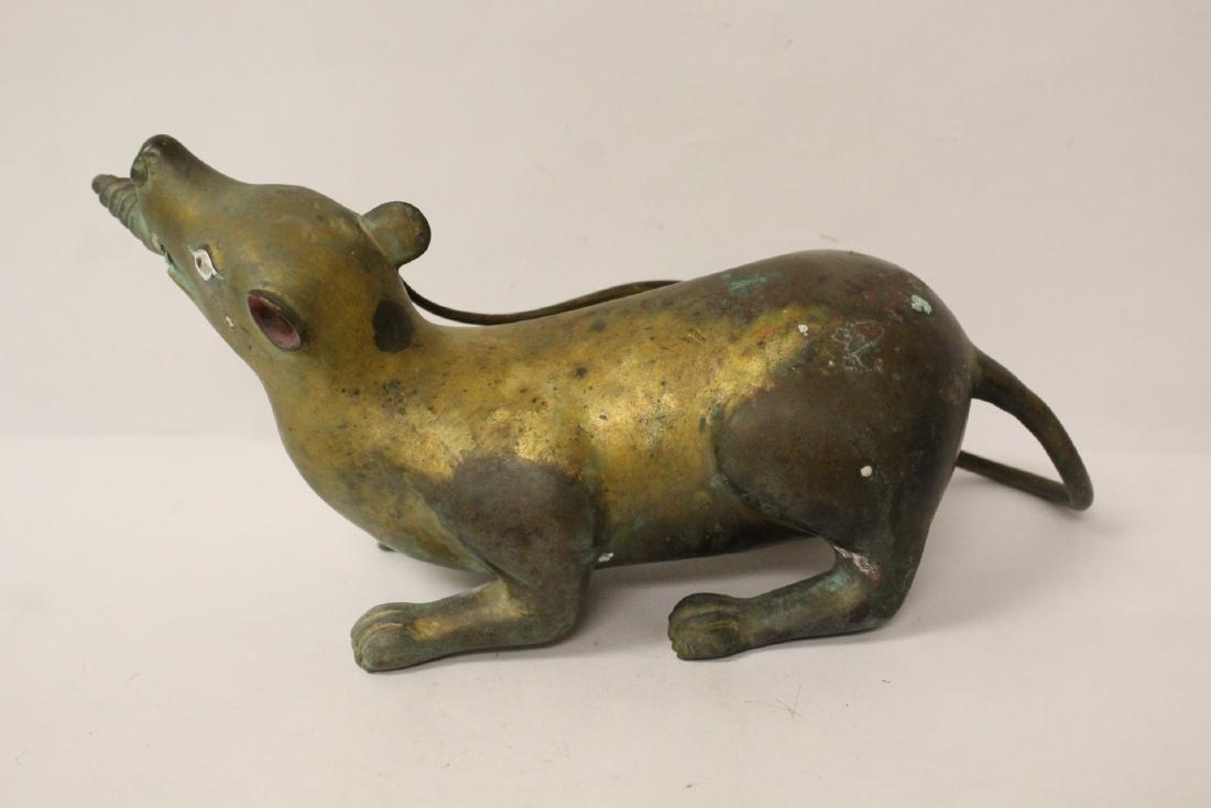 Pair rare Tibetan gilt bronze treasure mice - 4