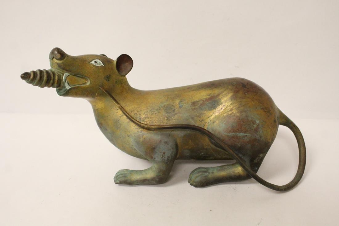 Pair rare Tibetan gilt bronze treasure mice - 6
