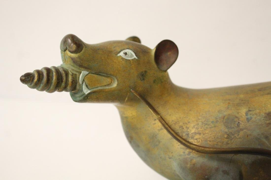 Pair rare Tibetan gilt bronze treasure mice - 7