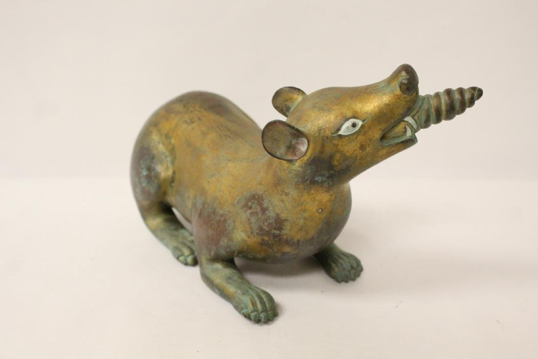 Pair rare Tibetan gilt bronze treasure mice - 8