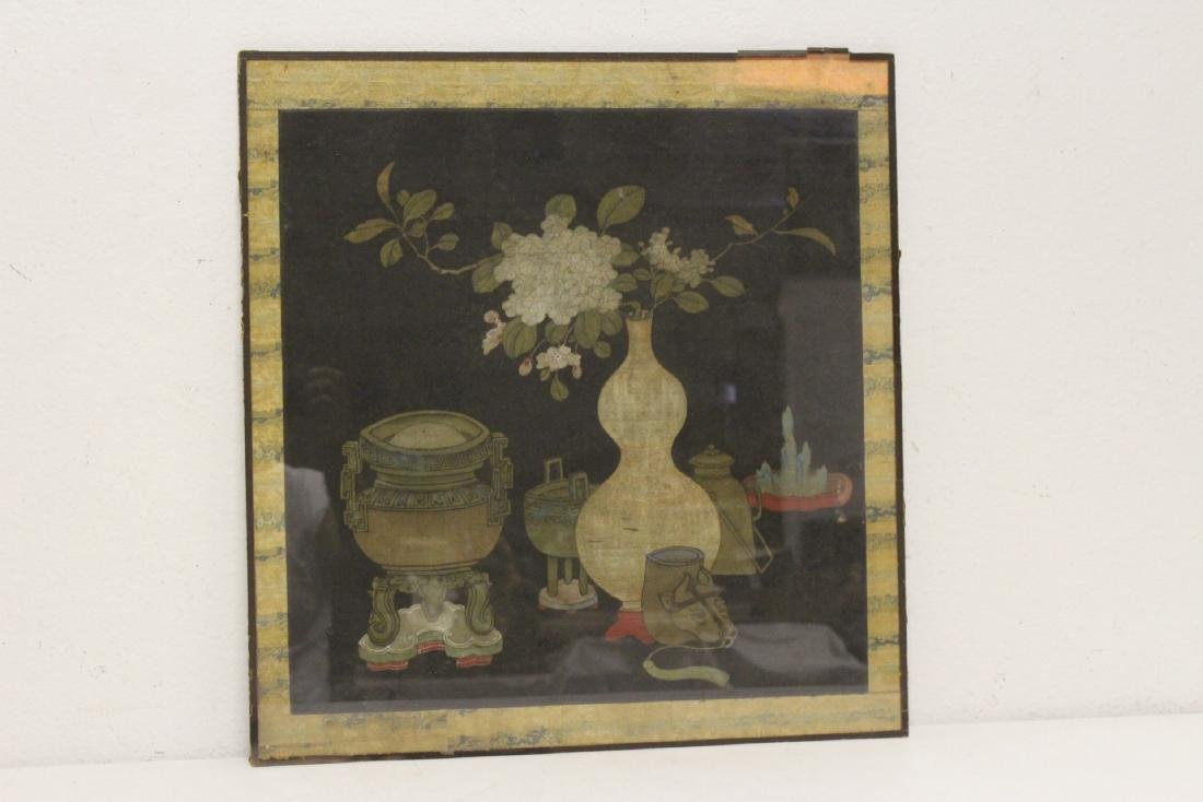 Set of 4 Chinese antique watercolor on silk panels - 2