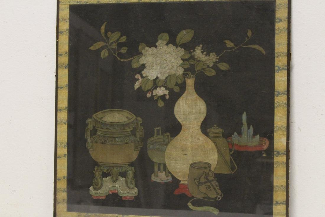 Set of 4 Chinese antique watercolor on silk panels - 3