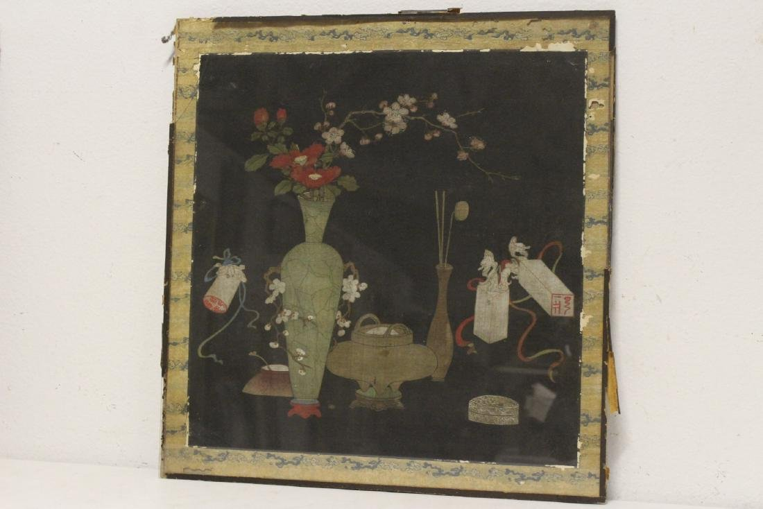 Set of 4 Chinese antique watercolor on silk panels - 4