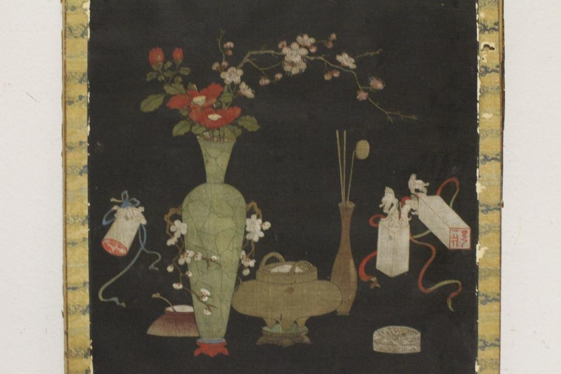 Set of 4 Chinese antique watercolor on silk panels - 5