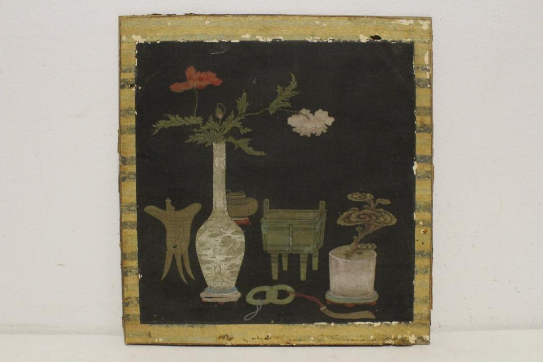 Set of 4 Chinese antique watercolor on silk panels - 8