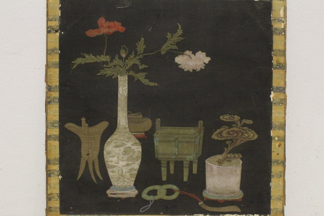 Set of 4 Chinese antique watercolor on silk panels - 9