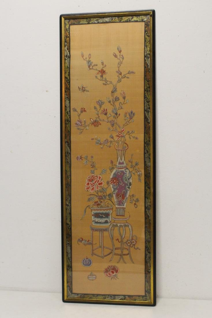 Fine Chinese antique framed embroidery panel