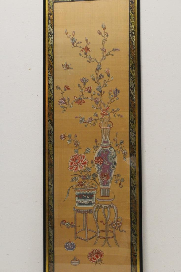 Fine Chinese antique framed embroidery panel - 2