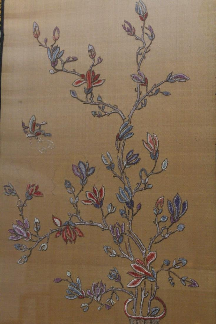 Fine Chinese antique framed embroidery panel - 5