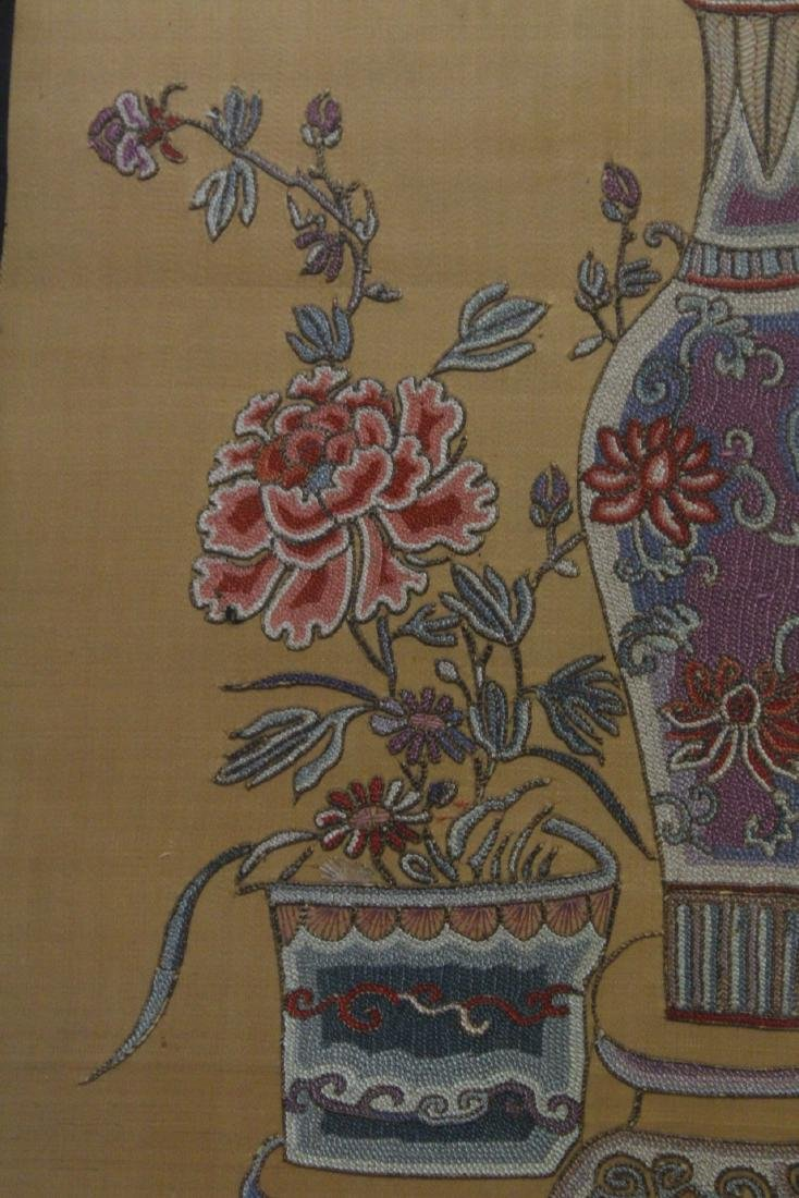Fine Chinese antique framed embroidery panel - 7