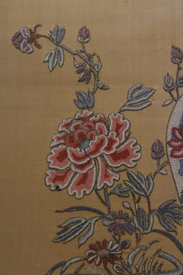 Fine Chinese antique framed embroidery panel - 8