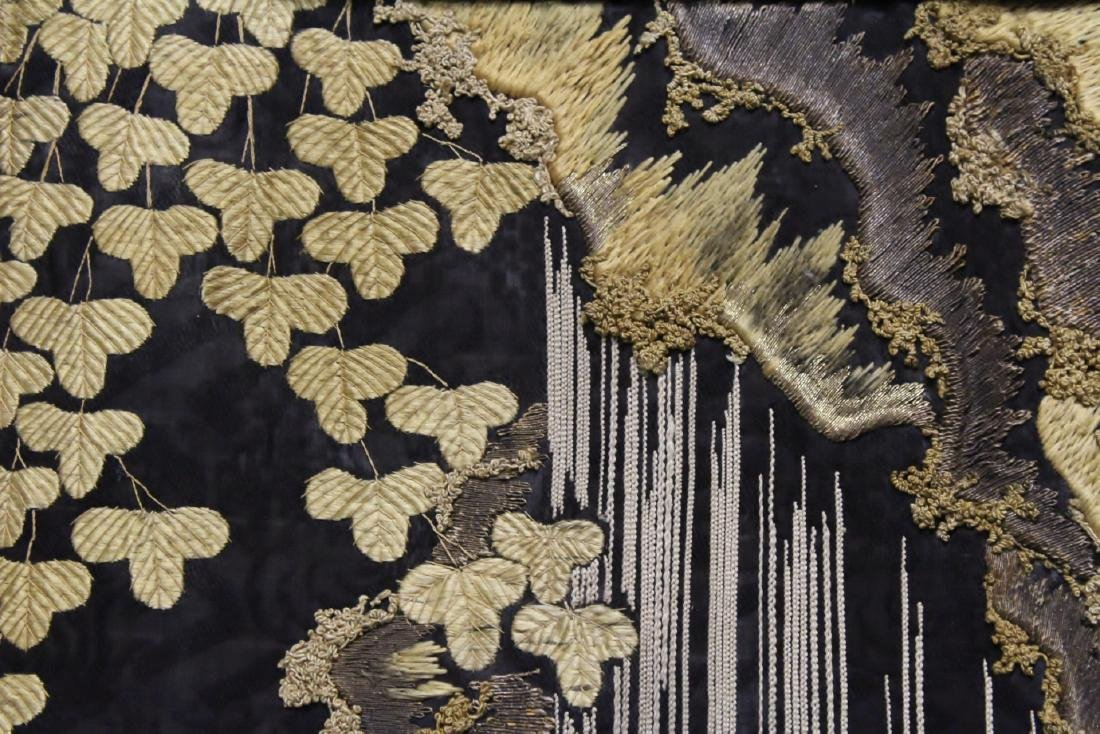 Lg Japanese 19th c. embroidery panel - 10