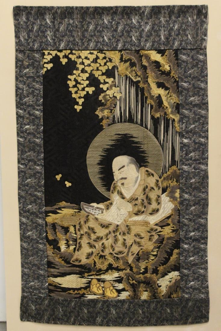 Lg Japanese 19th c. embroidery panel