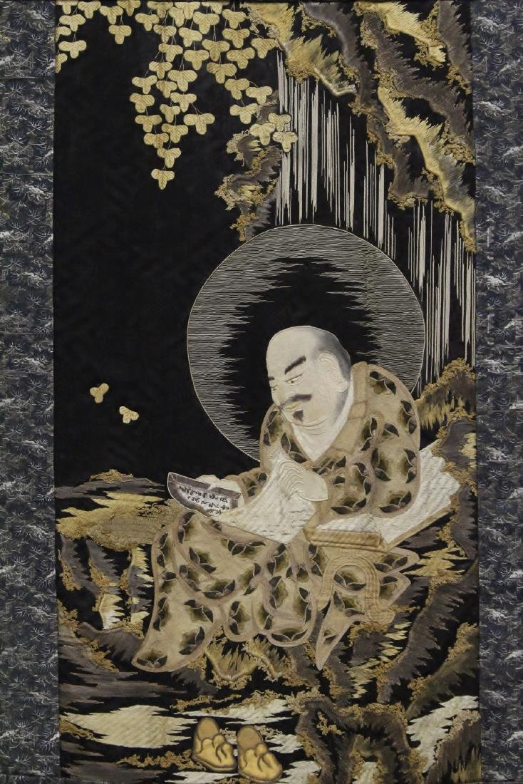 Lg Japanese 19th c. embroidery panel - 2