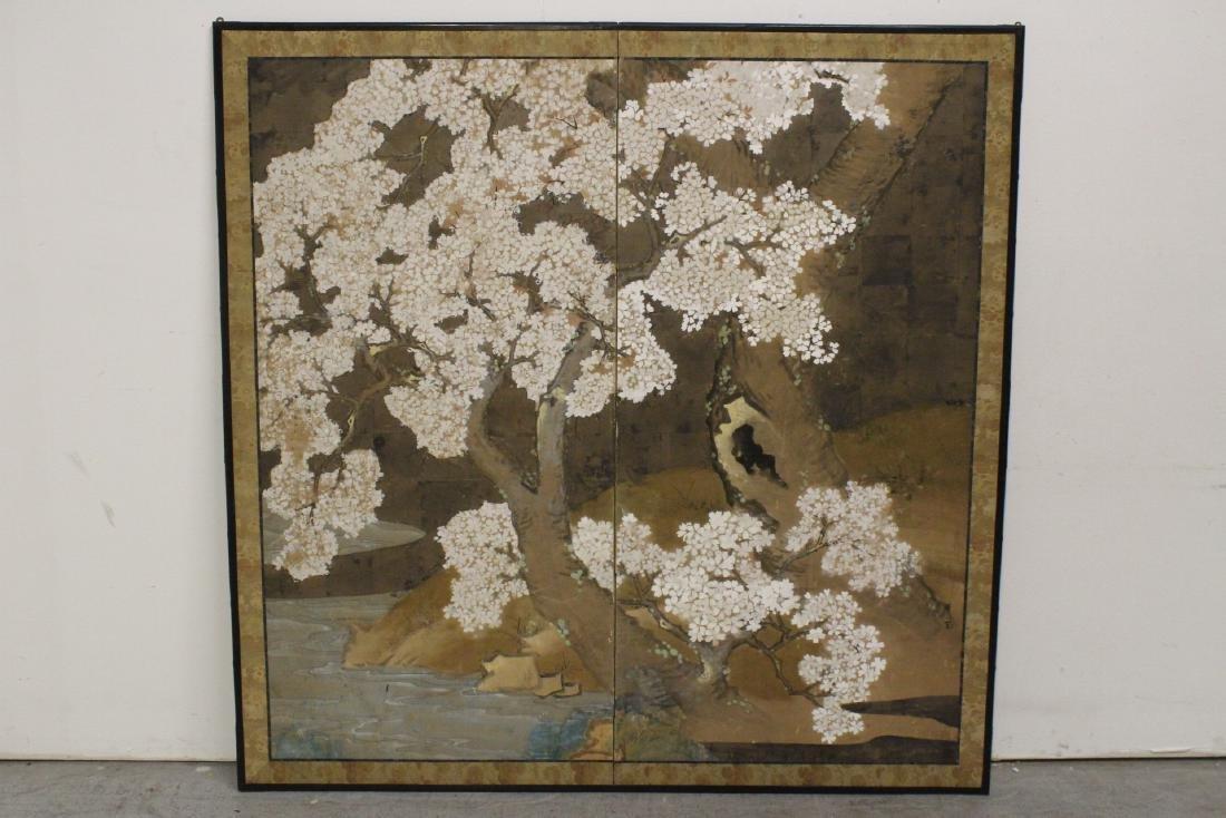 Japanese antique 2-panel room divider