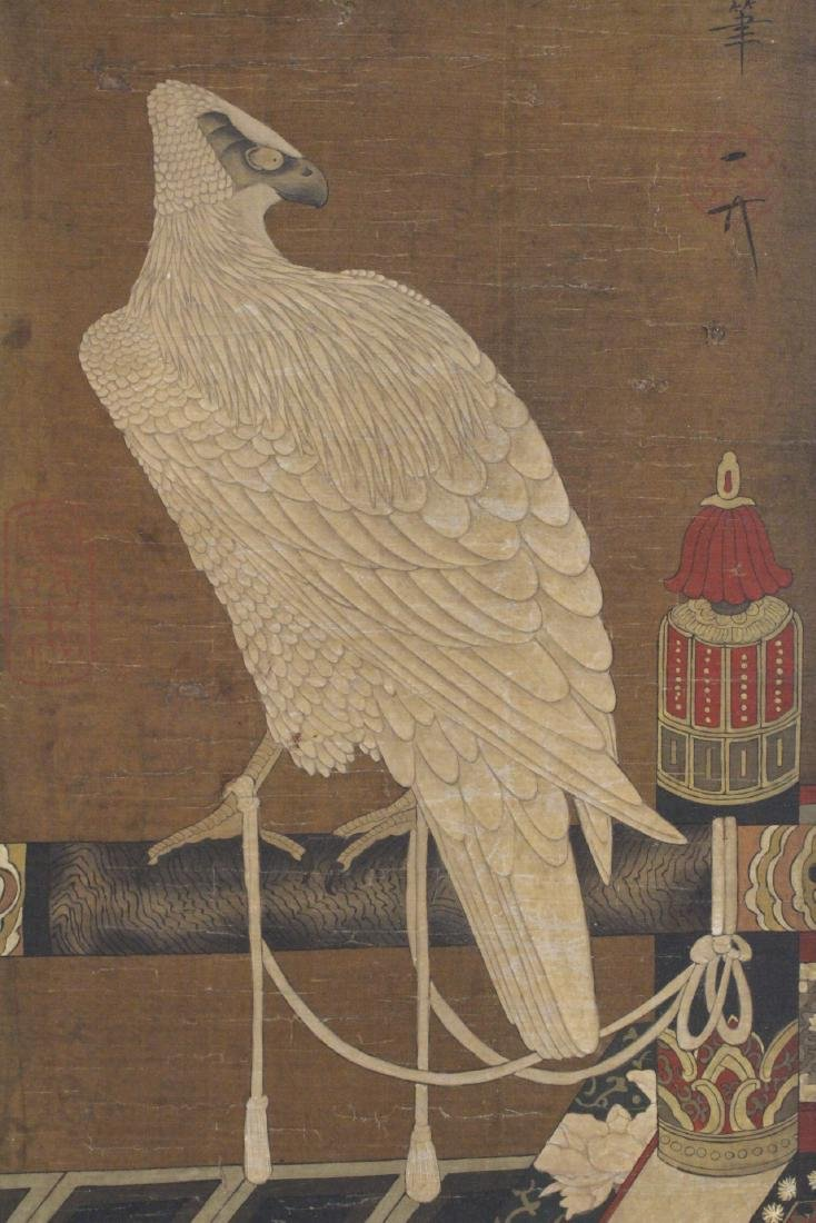 Chinese watercolor panel depicting eagle - 3