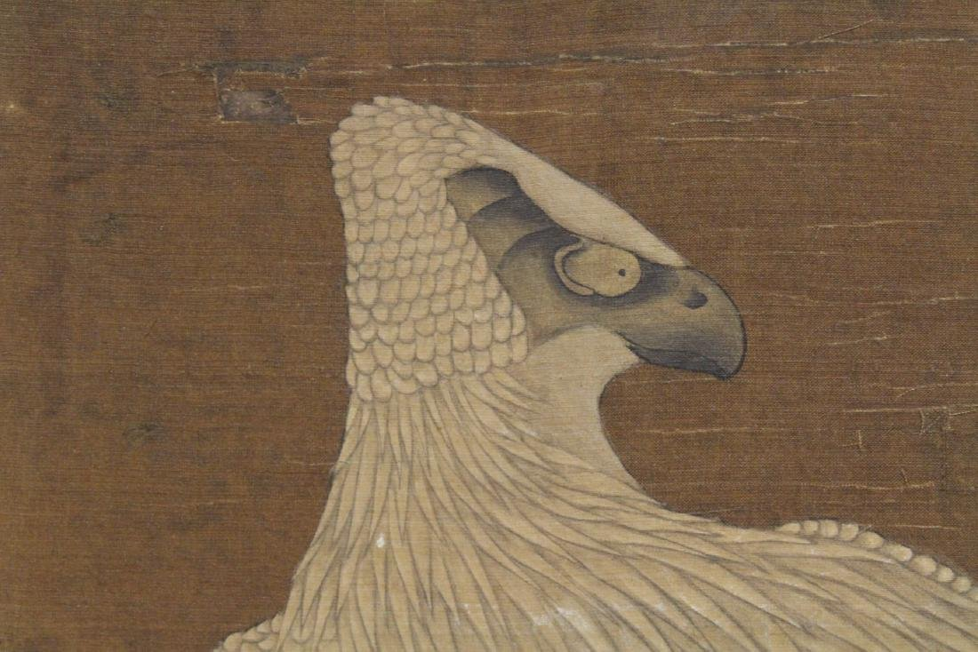 Chinese watercolor panel depicting eagle - 9