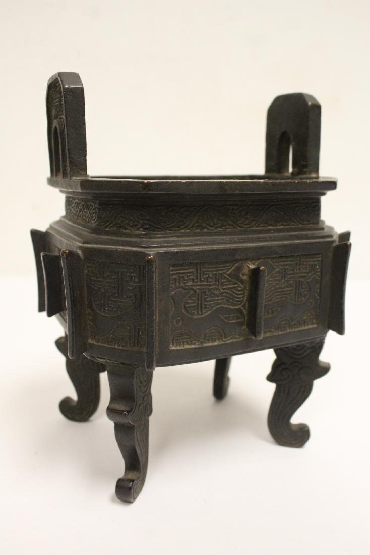 important Chinese antique bronze censer with stand - 10