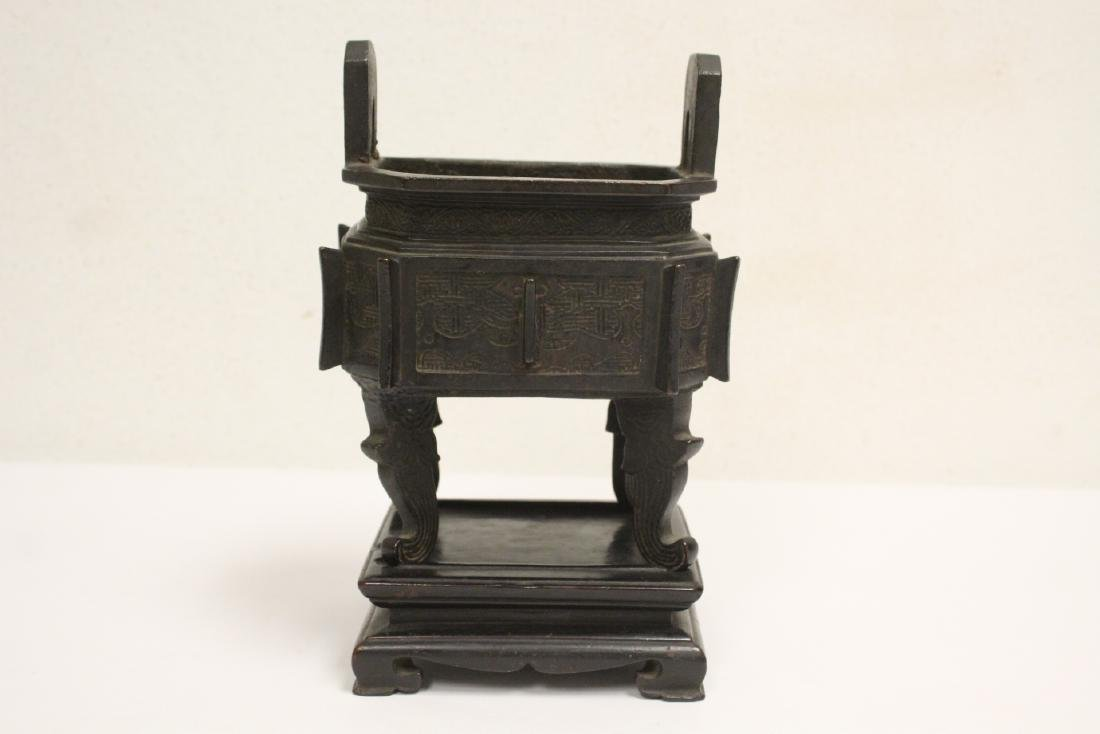 important Chinese antique bronze censer with stand