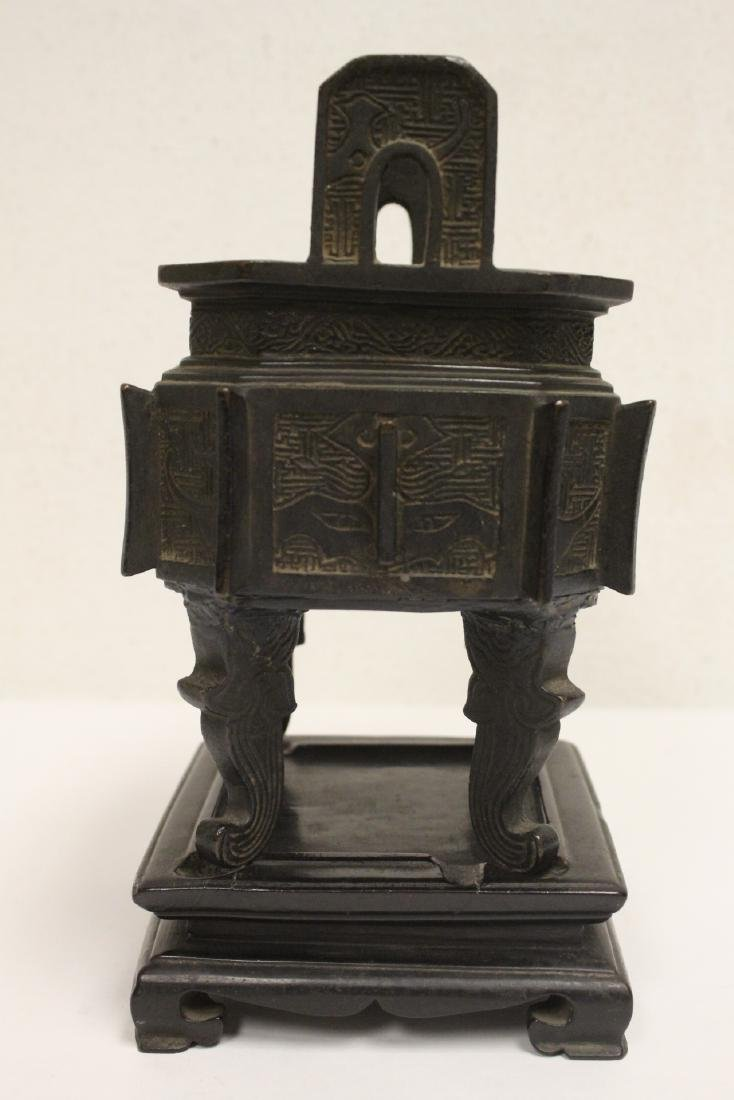 important Chinese antique bronze censer with stand - 4