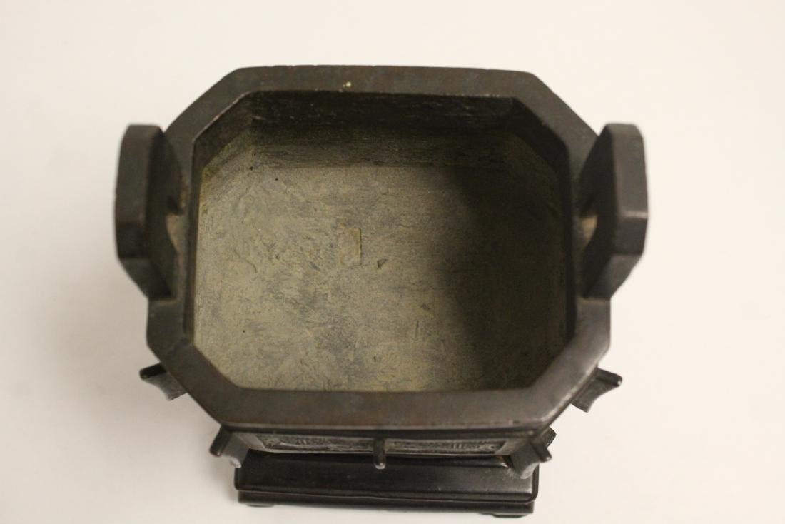 important Chinese antique bronze censer with stand - 5