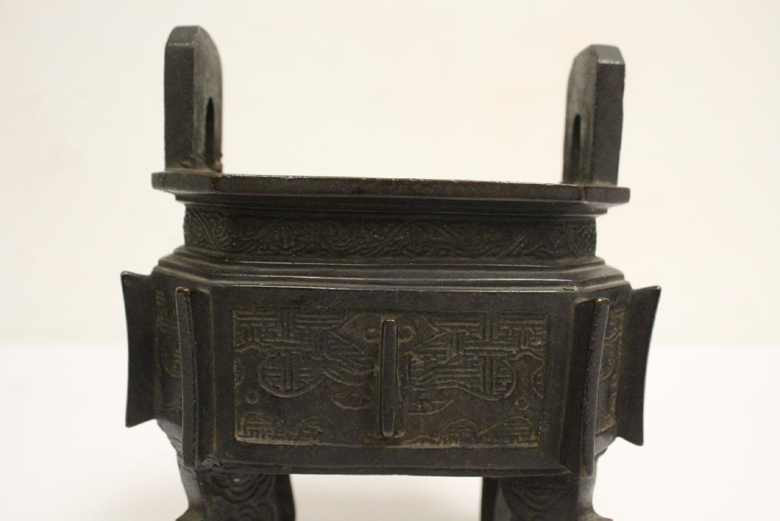 important Chinese antique bronze censer with stand - 6