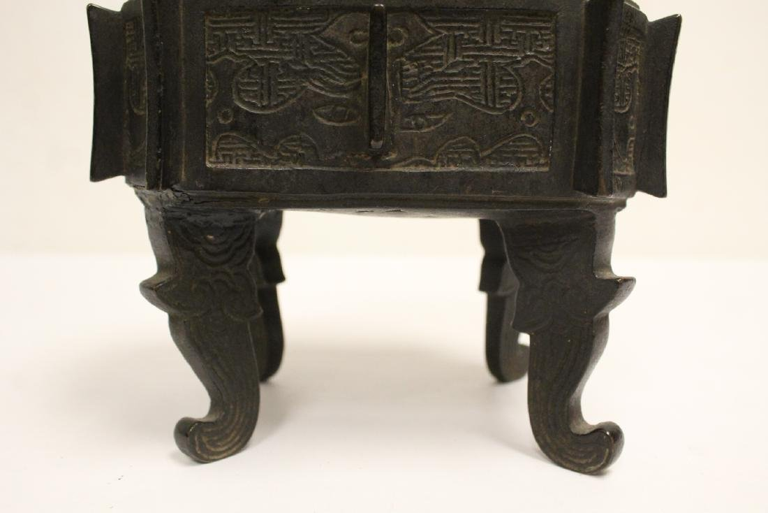 important Chinese antique bronze censer with stand - 7