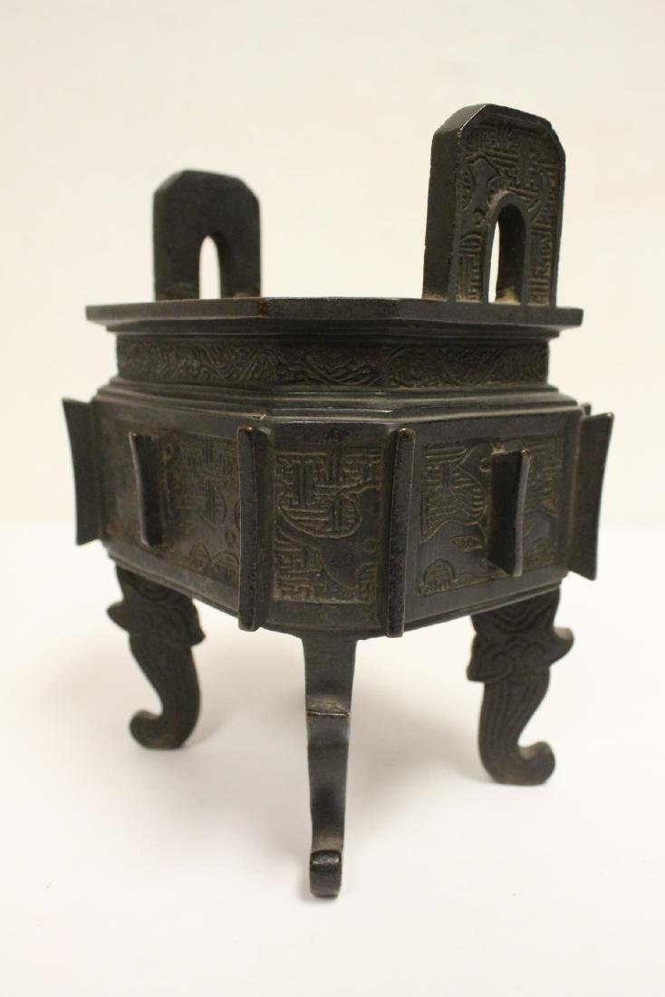important Chinese antique bronze censer with stand - 8