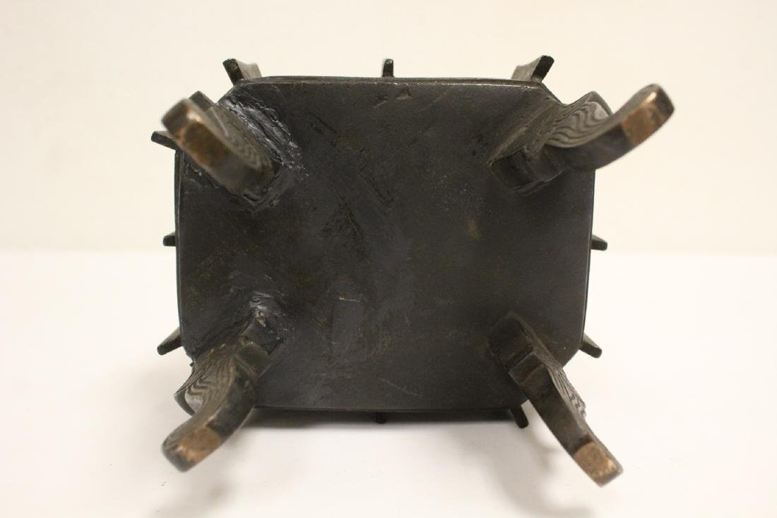 important Chinese antique bronze censer with stand - 9