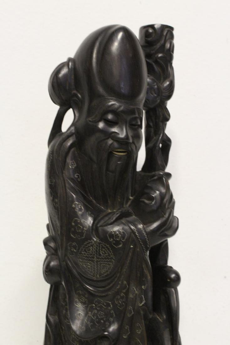 large rosewood carving with silver like wire inlaid - 10