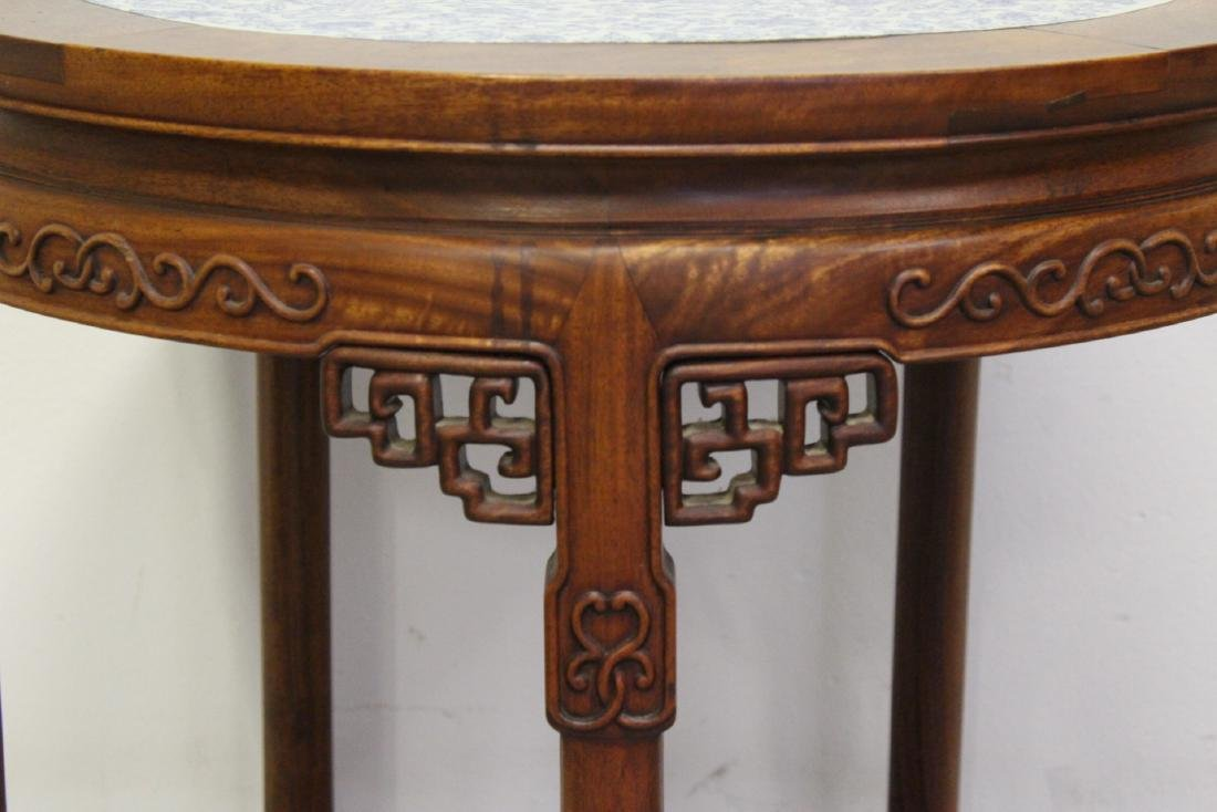 Chinese antique rosewood table w/ b&w porcelain top - 10