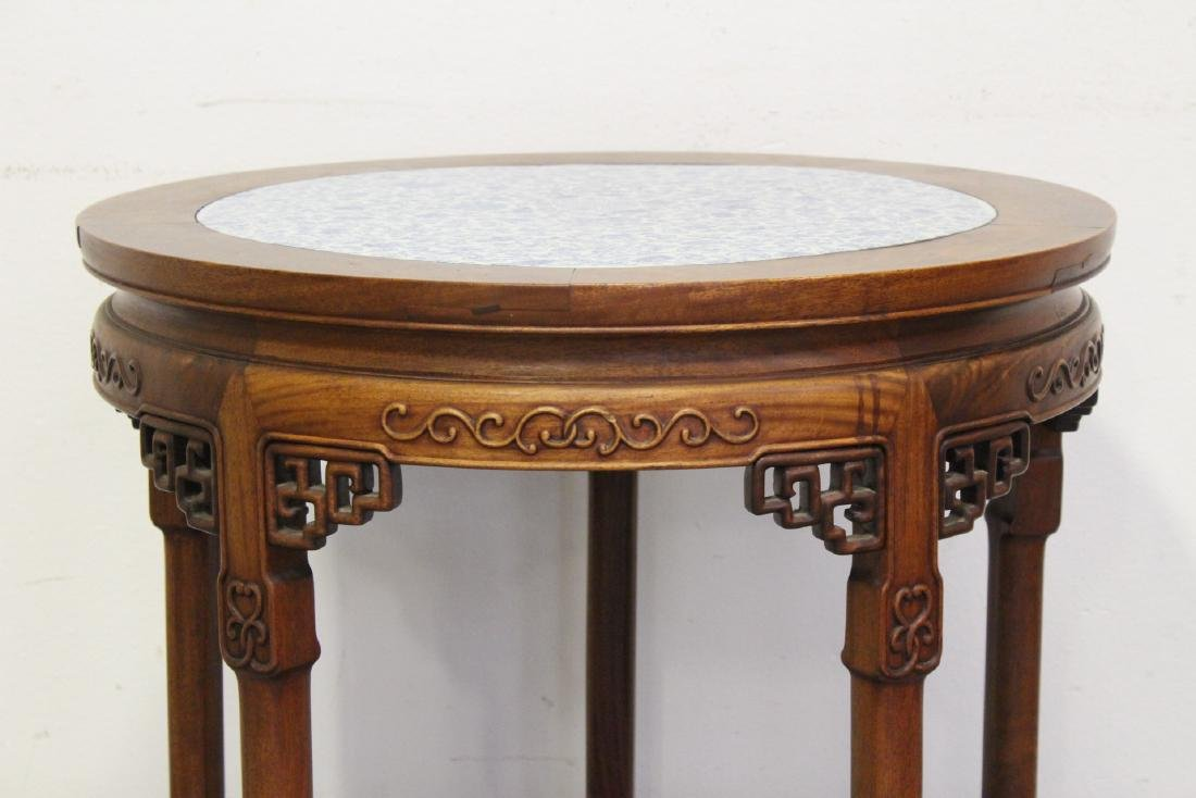 Chinese antique rosewood table w/ b&w porcelain top - 2