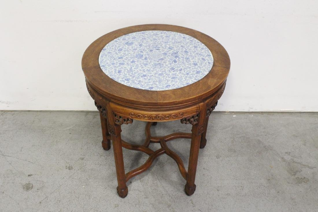 Chinese antique rosewood table w/ b&w porcelain top - 4