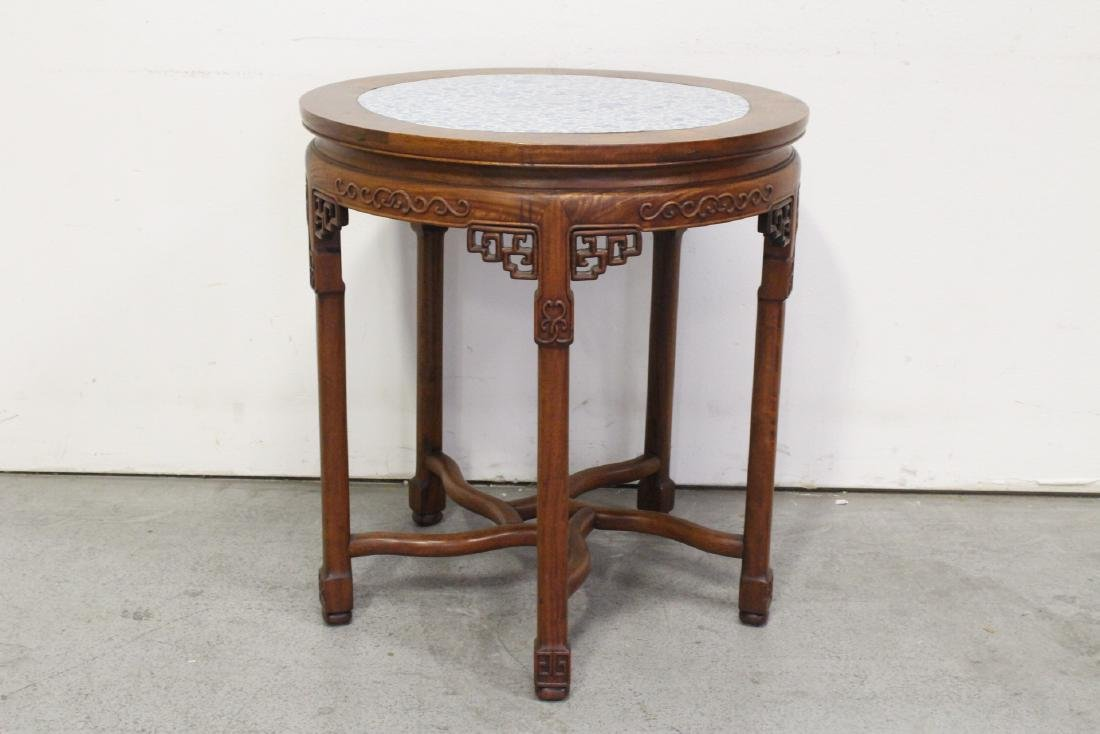 Chinese antique rosewood table w/ b&w porcelain top - 7