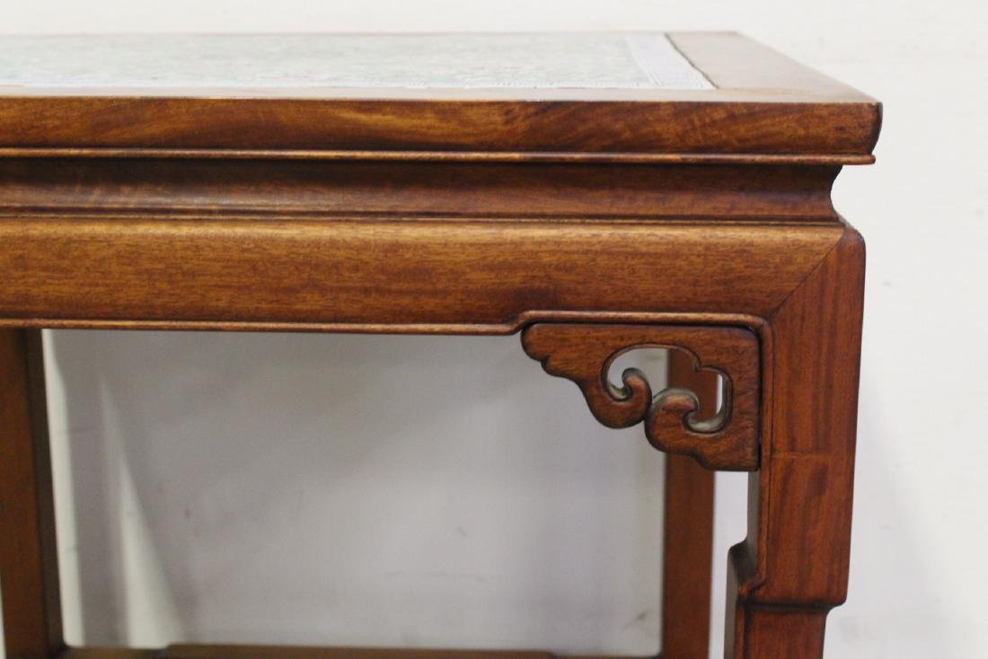 Chinese antique rosewood table with porcelain plaque - 10