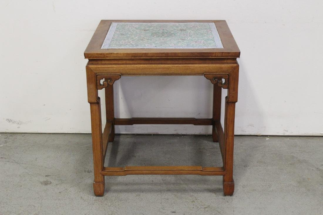 Chinese antique rosewood table with porcelain plaque