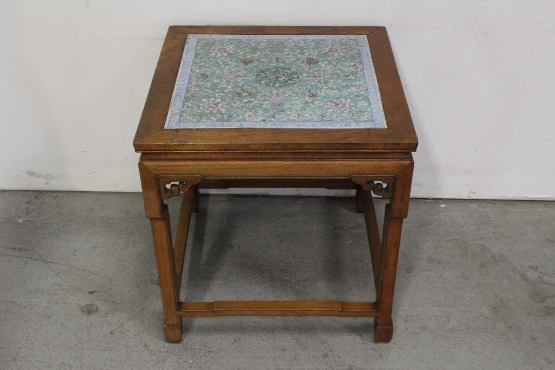 Chinese antique rosewood table with porcelain plaque - 2