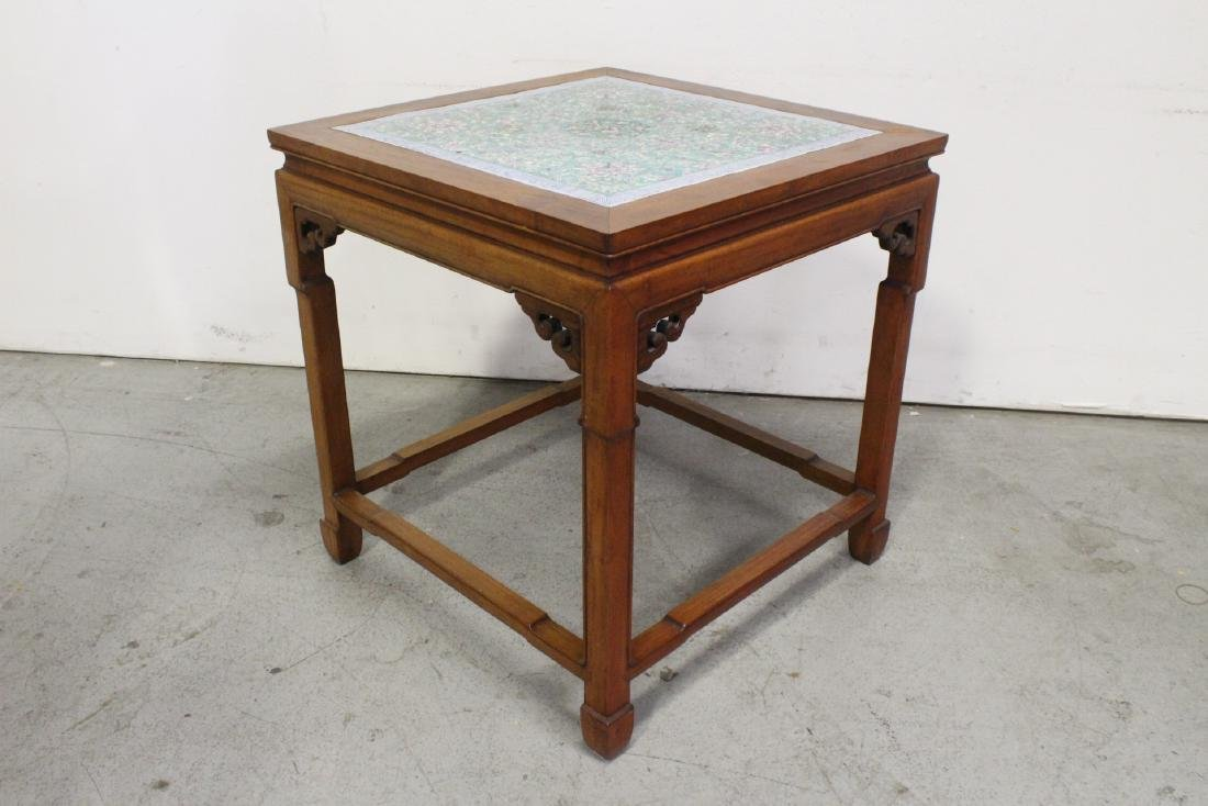 Chinese antique rosewood table with porcelain plaque - 7
