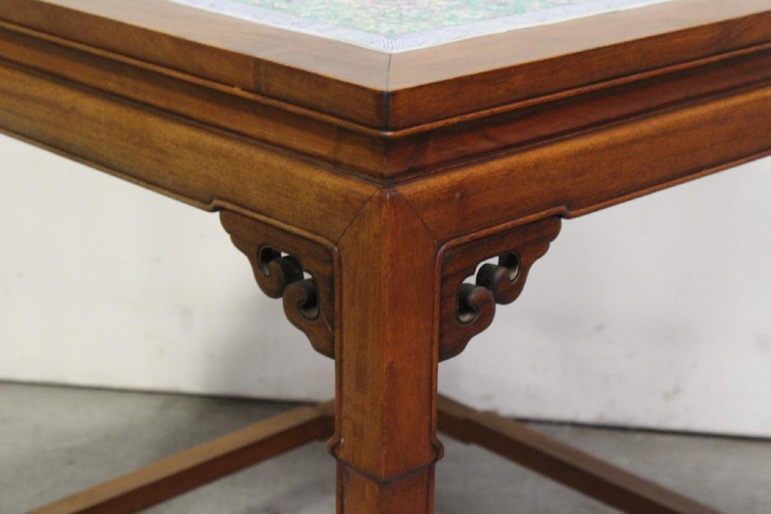 Chinese antique rosewood table with porcelain plaque - 8