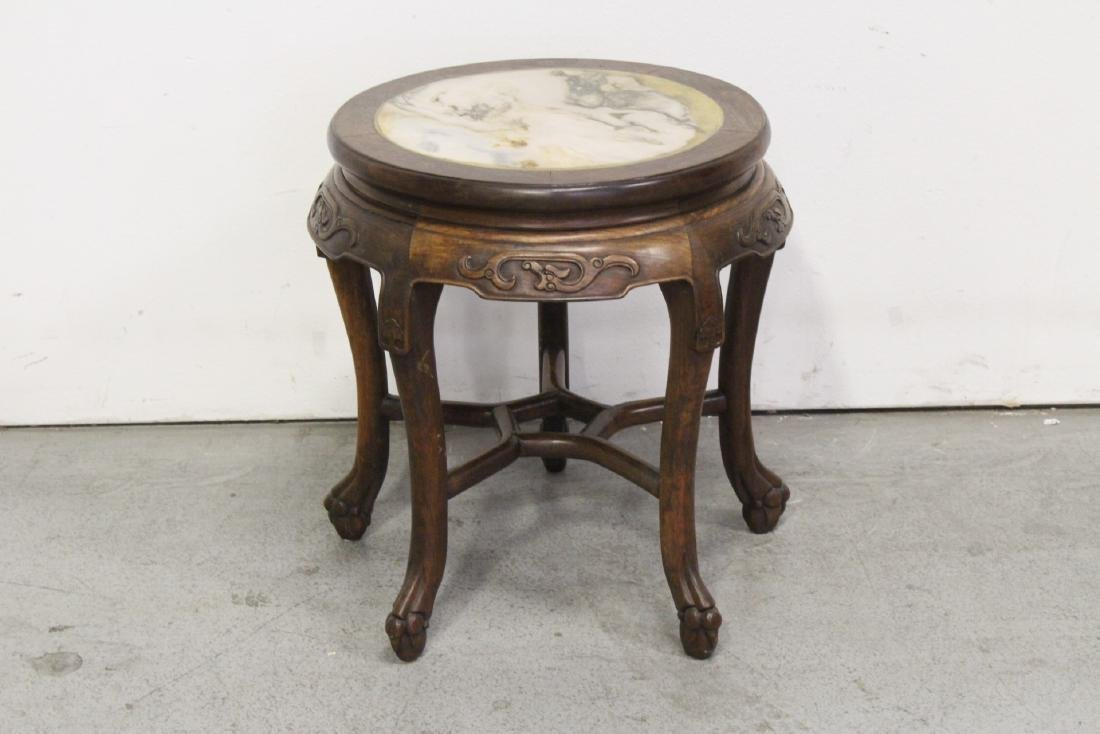 Chinese antique rosewood table with marble inset