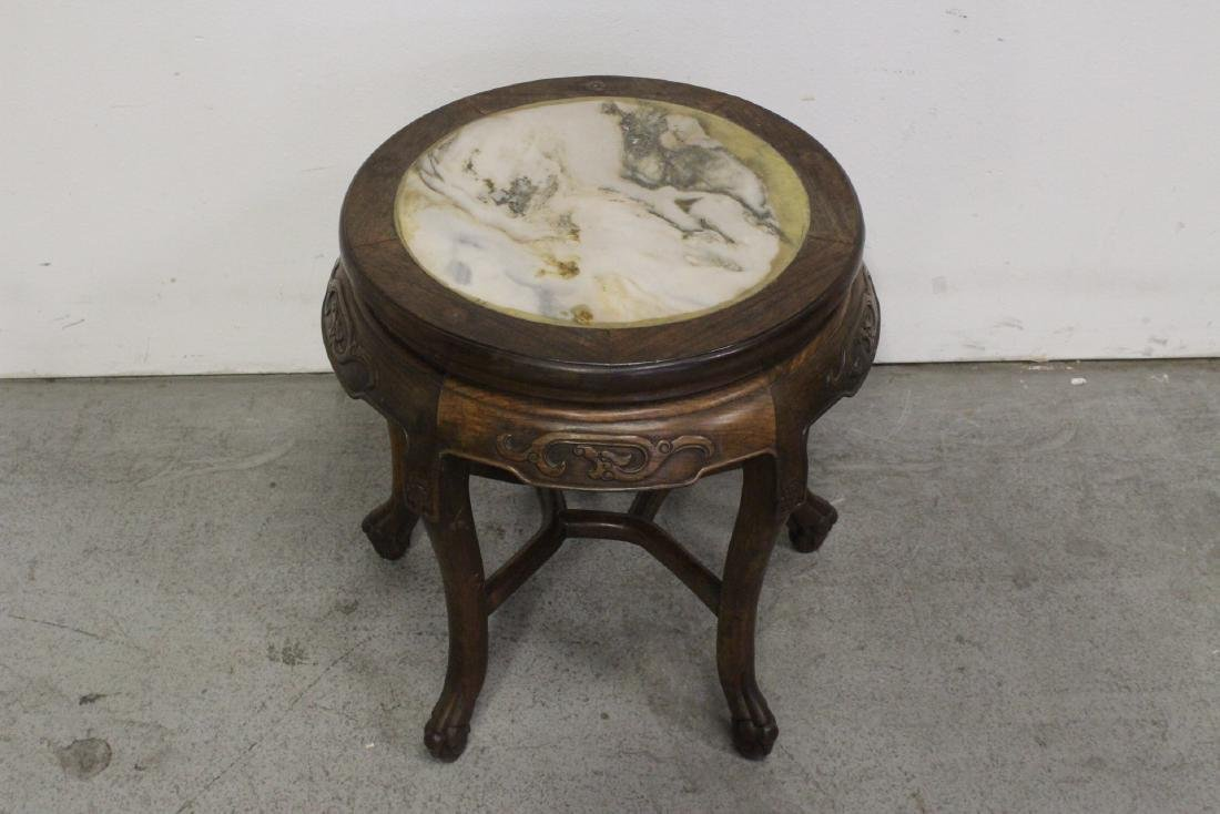Chinese antique rosewood table with marble inset - 2