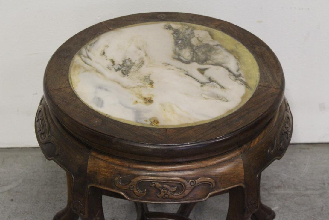 Chinese antique rosewood table with marble inset - 3