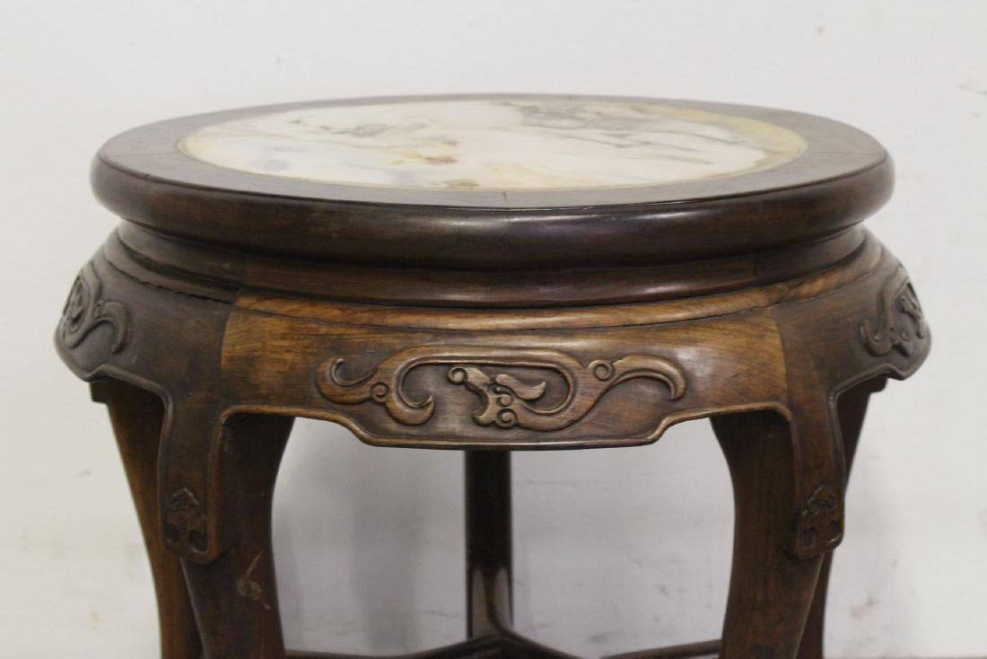 Chinese antique rosewood table with marble inset - 4