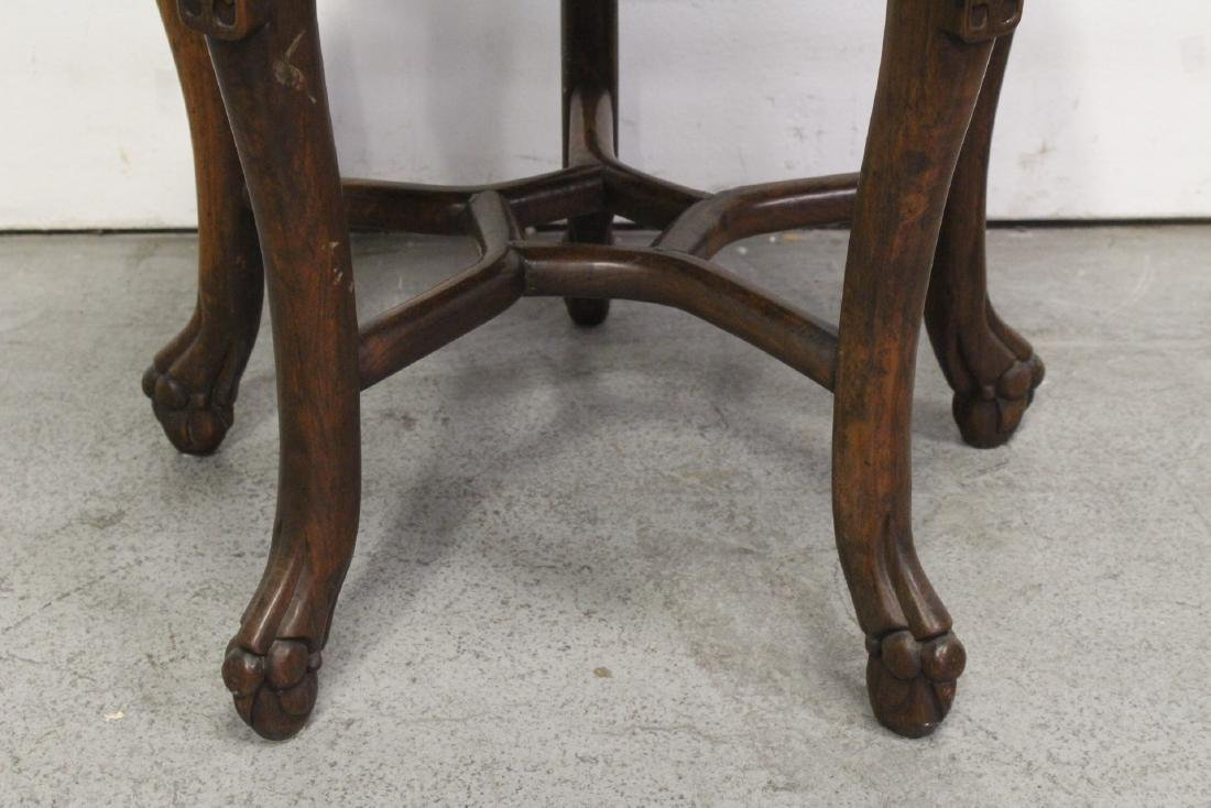 Chinese antique rosewood table with marble inset - 5